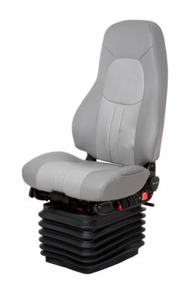 Truck Seat, HiPro HP Air Suspension, Bellows, Hi-Back, Heating, Driver Swivel, Smoke Gray/Silver Gray Leather | National Seating