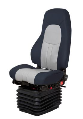 Truck Seat, HiPro HP Air Suspension, Bellows, Hi-Back, Heating, Driver Swivel, Baltic Blue/Silver Gray Leather | NationalSeating