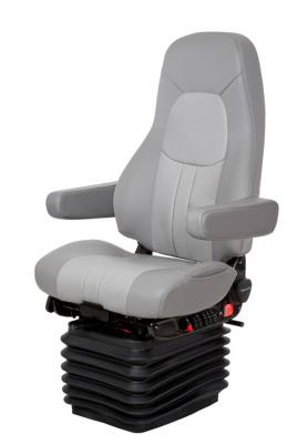 AdmiralTruck Seat, HiPro HP Air Suspension, Bellows, Hi-Back, Dual Armrests, Heating, Driver Swivel, Smoke Gray/Silver Gray Leather | National Seating