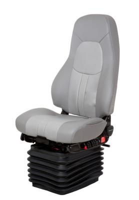Truck Seat, HiPro HP Air Suspension, Bellows, Hi-Back, Smoke Gray/Silver Gray Leather | National Seating