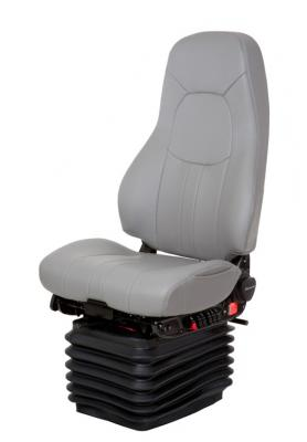 Admiral CTTruck Seat, HiPro HP Air Suspension, Bellows, Hi-Back, Heating+Cooling, Driver Swivel, Smoke Gray/Silver Gray Leather | National Seating